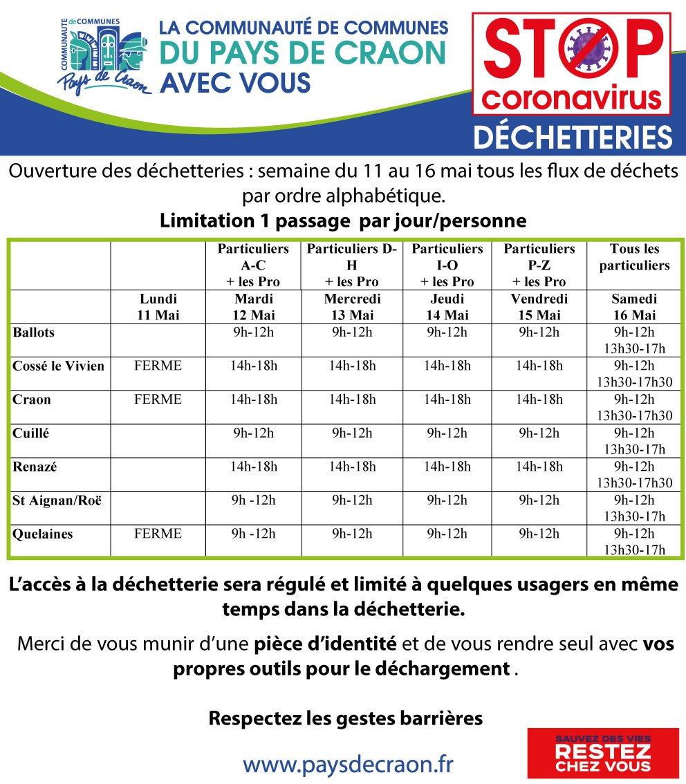 Information déchetteries du 11 au 16 mai 2020